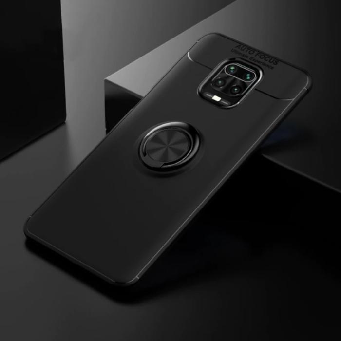 Xiaomi Poco F2 Pro Hoesje met Metalen Ring  - Auto Focus Shockproof Case Cover Cas TPU Zwart + Kickstand