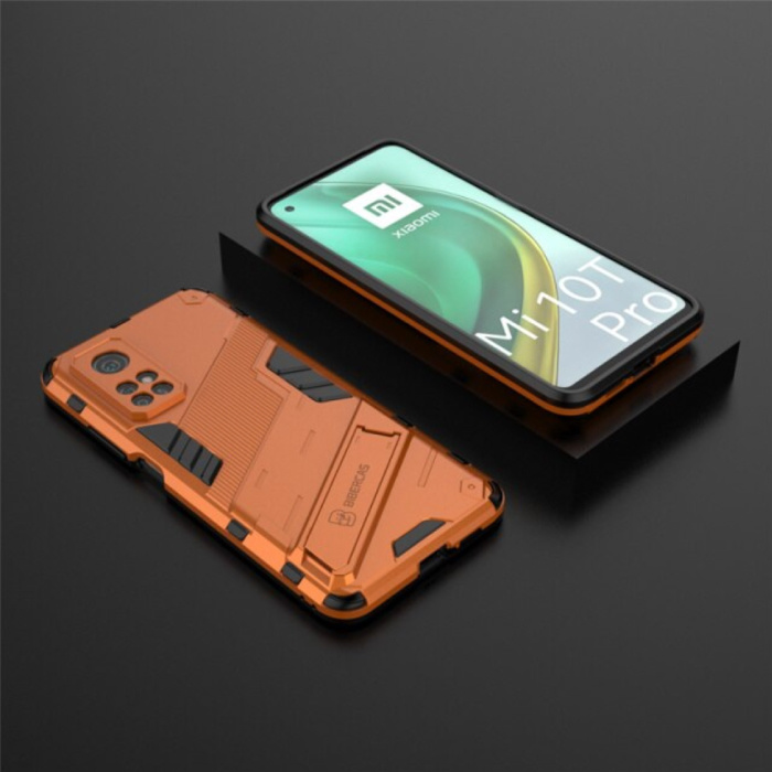 Xiaomi Mi 10T Pro Hoesje met Kickstand - Shockproof Armor Case Cover TPU Oranje