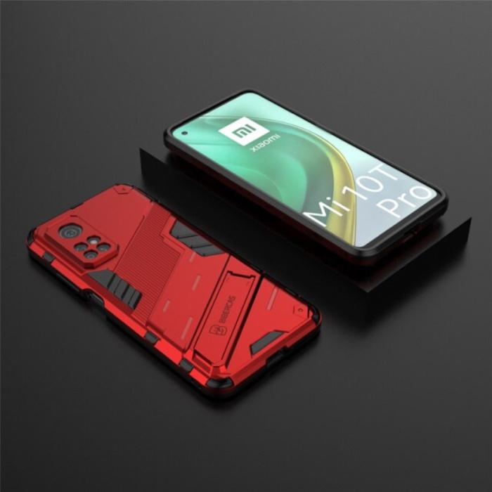 Coque Xiaomi Mi 10T Pro avec béquille - Coque antichoc Armor TPU Rouge