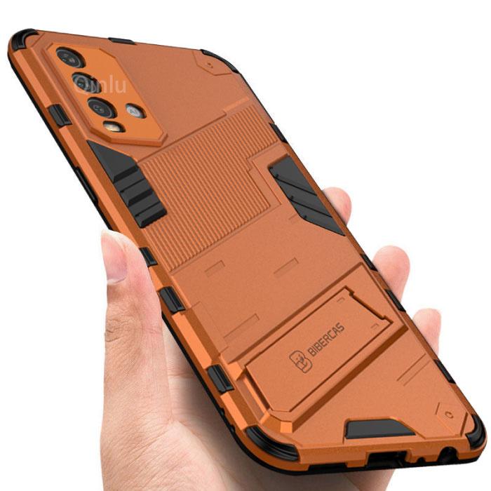 Xiaomi Mi 10 Lite Hoesje met Kickstand - Shockproof Armor Case Cover TPU Oranje