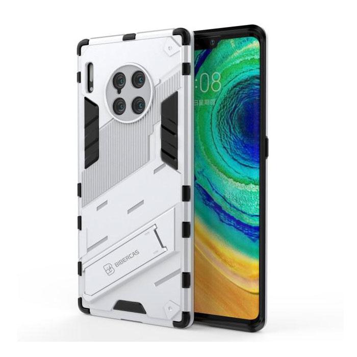 Xiaomi Mi 10 Lite Hoesje met Kickstand - Shockproof Armor Case Cover TPU Wit
