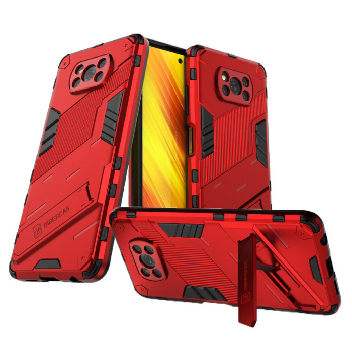 Xiaomi Mi 11 Pro Hoesje met Kickstand - Shockproof Armor Case Cover TPU Rood