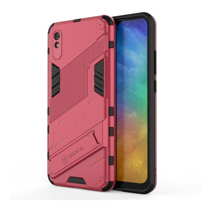 Xiaomi Mi 11 Lite Hoesje met Kickstand - Shockproof Armor Case Cover TPU Roze