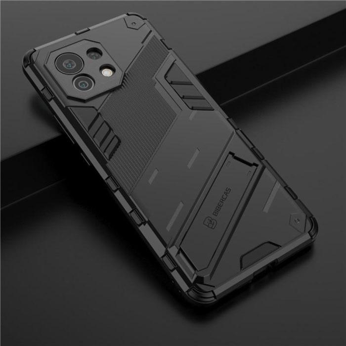 Xiaomi Mi 10 Lite Hoesje met Kickstand - Shockproof Armor Case Cover TPU Zwart