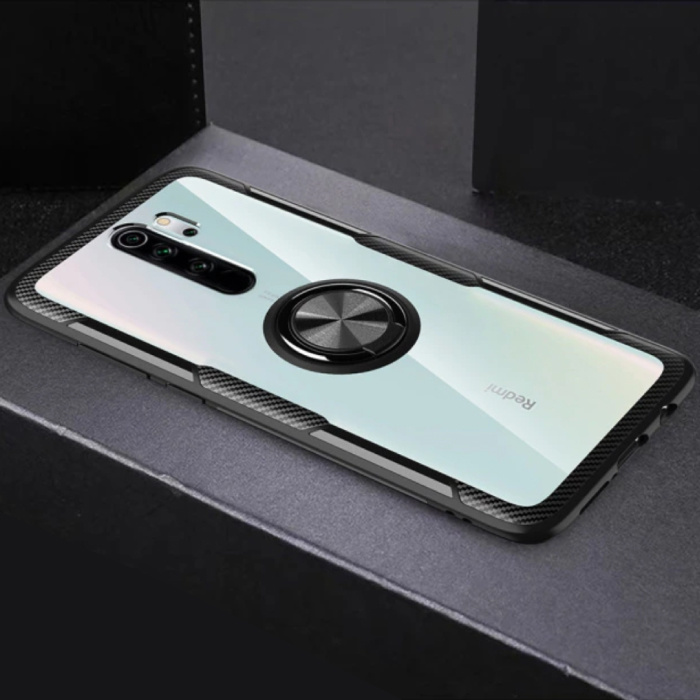 Xiaomi Mi 8 Hoesje met Metalen Ring Kickstand - Transparant Shockproof Case Cover PC Zwart