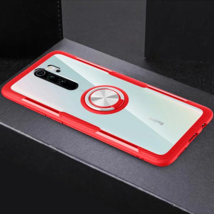 Xiaomi Mi 8 Hoesje met Metalen Ring Kickstand - Transparant Shockproof Case Cover PC Rood