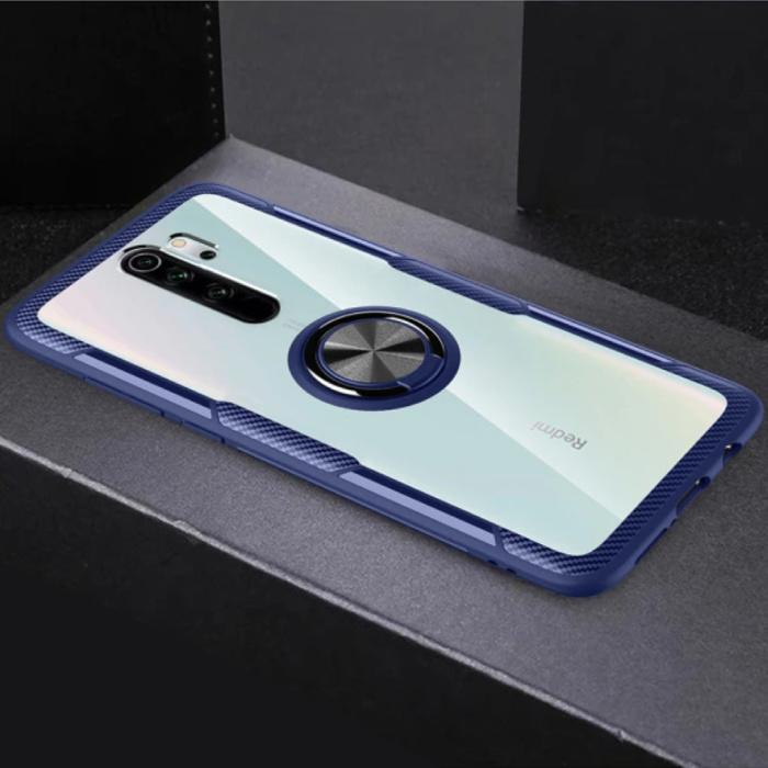 Coque Xiaomi Mi 8 avec béquille à anneau en métal - Housse transparente antichoc PC Bleu
