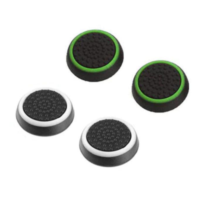 4 Thumb Stick Grips voor PS3/PS4/Xbox 360/Xbox One Joystick - Antislip Controller Caps - Groen en Wit
