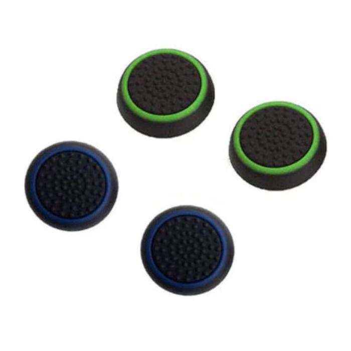 4 poignées pour manette de jeu PS3/PS4/Xbox 360/Xbox One - Capuchons de manette antidérapants - Vert et bleu