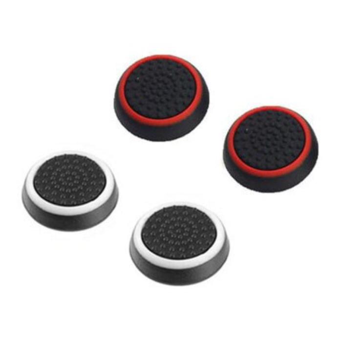 4 poignées pour manette de jeu PS3/PS4/Xbox 360/Xbox One - Capuchons de contrôleur antidérapants - Blanc et rouge