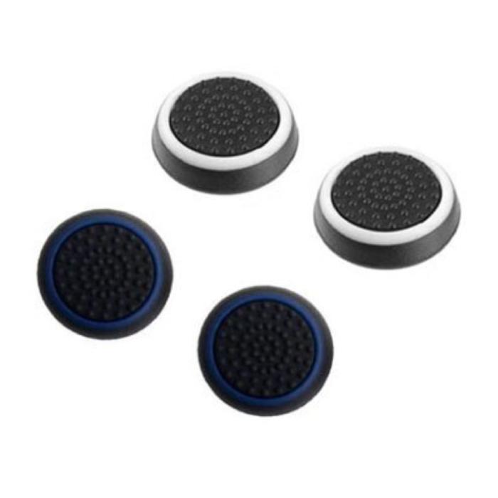 4 poignées de pouce pour manette PS3/PS4/Xbox 360/Xbox One - Capuchons de contrôleur antidérapants - Blanc et bleu