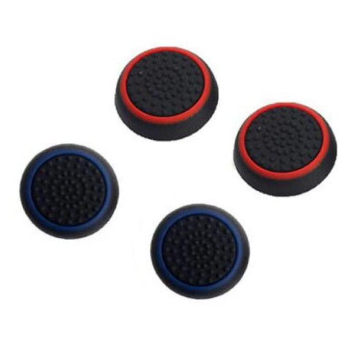 4 poignées de pouce pour manette PS3/PS4/Xbox 360/Xbox One - Capuchons de contrôleur antidérapants - Bleu et rouge