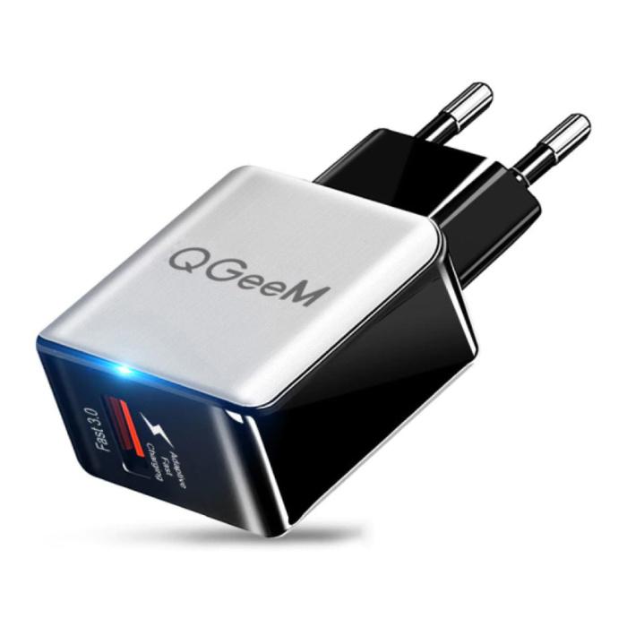 Chargeur de prise Quick Charge 3.0 - Adaptateur de chargeur mural à charge rapide 18W/3A Blanc