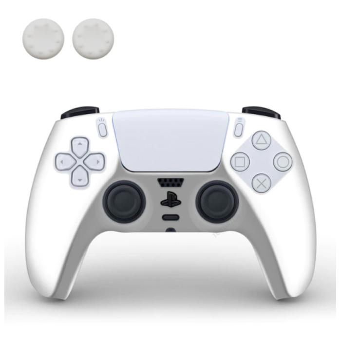 Housse / Skin antidérapante pour manette PlayStation 5 avec capuchons de joystick - Housse en caoutchouc pour PS5 - Blanc