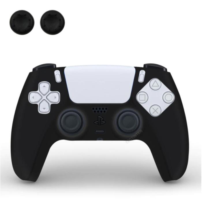 Housse / Skin antidérapante pour manette PlayStation 5 avec capuchons de joystick - Housse en caoutchouc pour PS5 - Noir