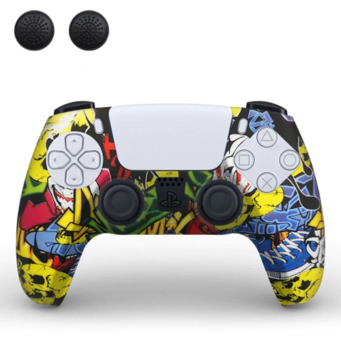 Housse / Skin antidérapante pour manette PlayStation 5 avec capuchons de joystick - Housse en caoutchouc pour PS5 - Graffiti