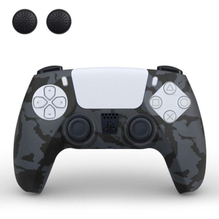 Housse / Skin antidérapante pour manette PlayStation 5 avec capuchons de joystick - Housse en caoutchouc pour PS5 - Camouflage noir