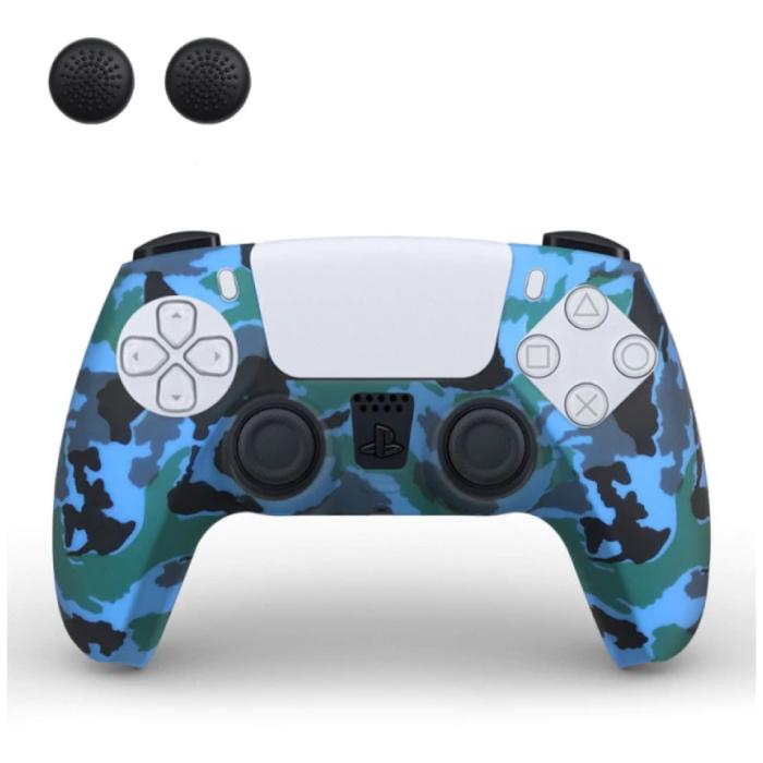 Housse / Skin antidérapante pour manette PlayStation 5 avec capuchons de joystick - Housse en caoutchouc pour PS5 - Camouflage bleu