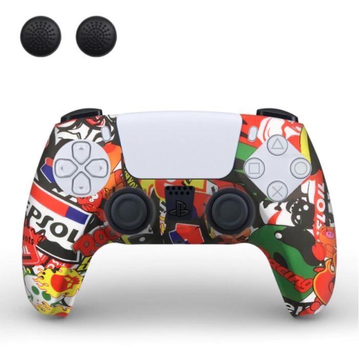 Housse / Skin antidérapante pour manette PlayStation 5 avec capuchons de joystick - Housse en caoutchouc PS5 - Skate
