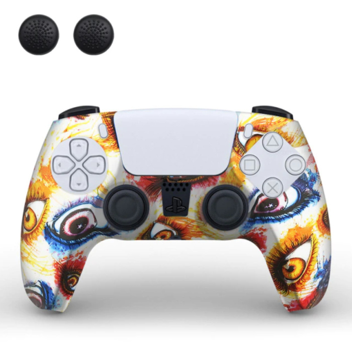 Housse / Skin antidérapante pour manette PlayStation 5 avec capuchons de joystick - Housse en caoutchouc pour PS5 - Yeux