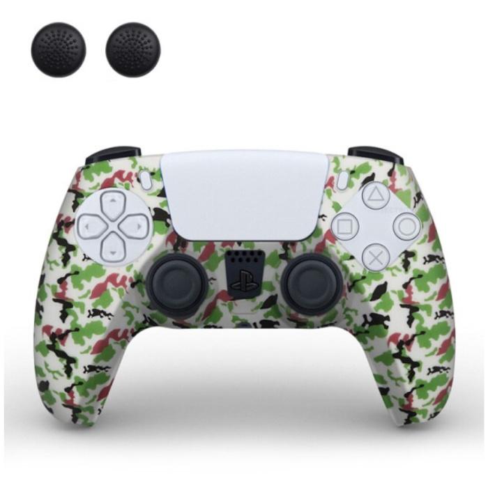 Housse / Skin antidérapante pour manette PlayStation 5 avec capuchons de joystick - Housse en caoutchouc pour PS5 - Camo