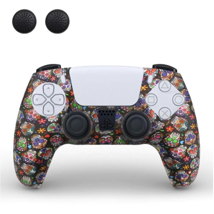 Housse / Skin antidérapante pour manette PlayStation 5 avec capuchons de joystick - Housse en caoutchouc PS5 - Fleurs
