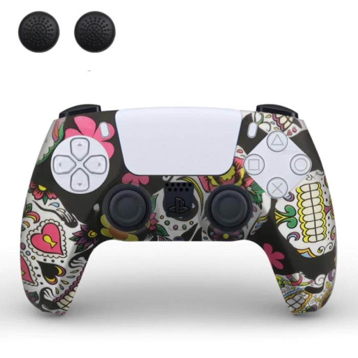 Housse / Skin antidérapante pour manette PlayStation 5 avec capuchons de joystick - Housse en caoutchouc PS5 - Crânes