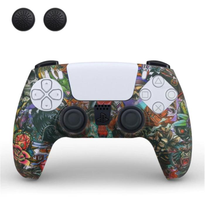 Housse / Skin antidérapante pour manette PlayStation 5 avec capuchons de joystick - Housse en caoutchouc pour PS5 - Beast