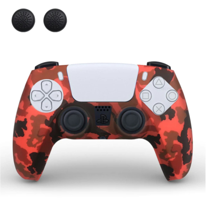 Housse / Skin antidérapante pour manette PlayStation 5 avec capuchons de joystick - Housse en caoutchouc PS5 - Camo rouge