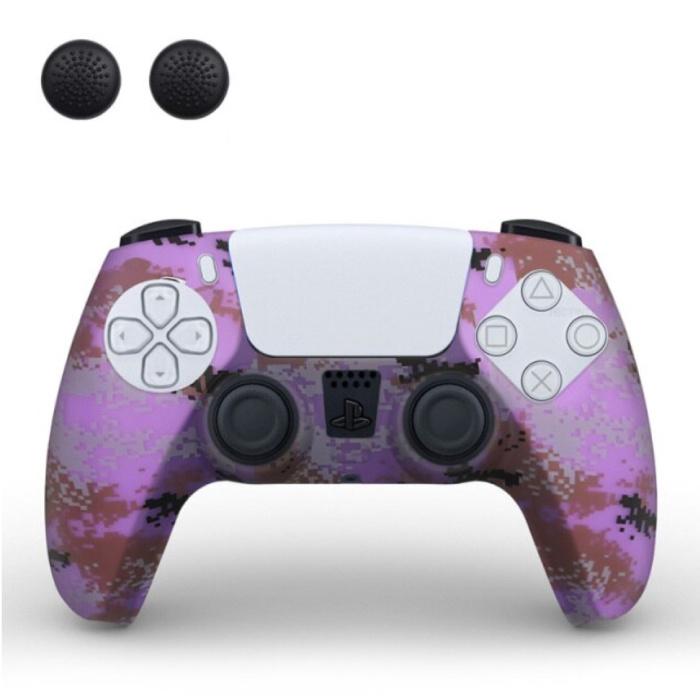 Housse / Skin antidérapante pour manette PlayStation 5 avec capuchons de joystick - Housse en caoutchouc pour PS5 - Camouflage violet