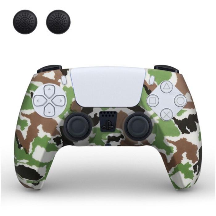 Housse / Skin antidérapante pour manette PlayStation 5 avec capuchons de joystick - Housse en caoutchouc pour PS5 - Camouflage jaune