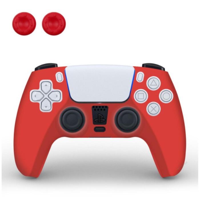Housse / Skin antidérapante pour manette PlayStation 5 avec capuchons de joystick - Housse en caoutchouc pour PS5 - Rouge