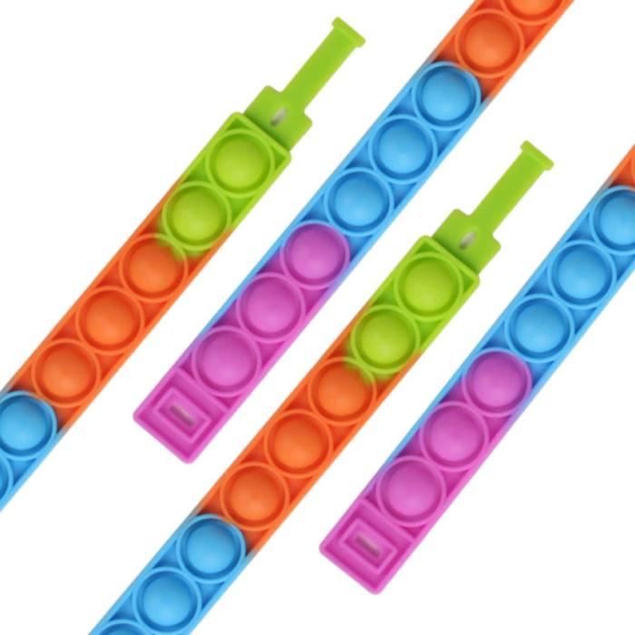 Pop It Bracelet - Fidget Anti Stress Toy Bubble Toy Silicone Blue-Orange-Green