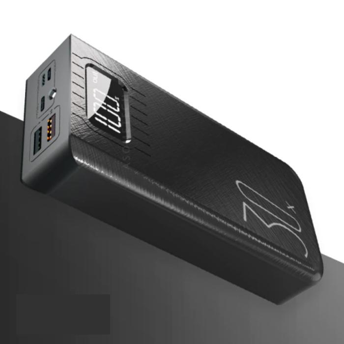 30X Powerbank met 2 Uitvoer/3 Invoer Poorten 30.000mAh - Ingebouwde Zaklamp - Externe Noodaccu Oplader Charger Zwart