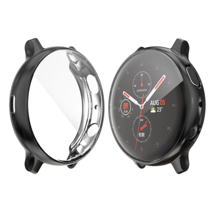 Full Cover for Samsung Galaxy Watch Active 2 (44mm) - Case and Screen Protector - TPU Hard Case Black