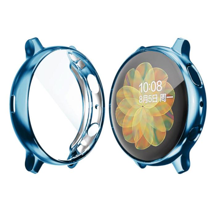 Coque Complète pour Samsung Galaxy Watch Active (39.5mm) - Coque et Protecteur d'Ecran - Coque Rigide TPU Bleue