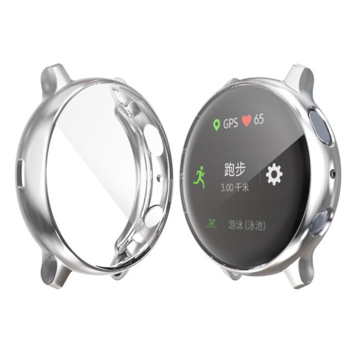 Full Cover for Samsung Galaxy Watch Active 2 (44mm) - Case and Screen Protector - TPU Hard Case Silver