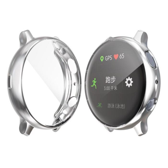 Coque Complète pour Samsung Galaxy Watch Active (39.5mm) - Coque et Protecteur d'Ecran - Coque Rigide TPU Argent