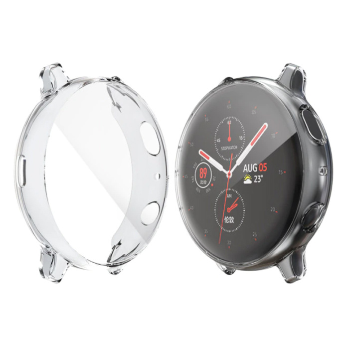 Full Cover for Samsung Galaxy Watch Active 2 (44mm) - Case and Screen Protector - TPU Hard Case Transparent