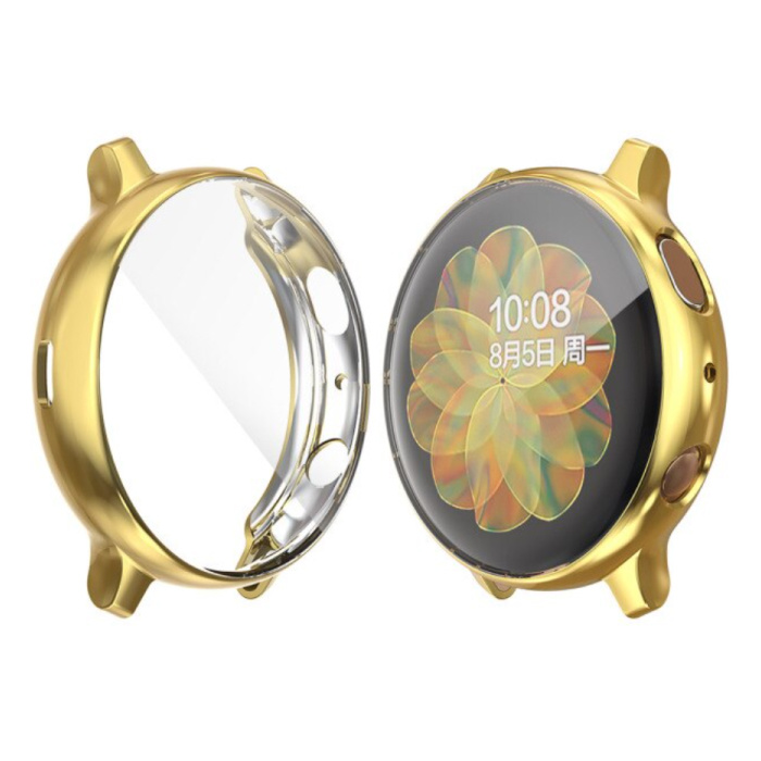 Full Cover for Samsung Galaxy Watch Active 2 (44mm) - Case and Screen Protector - TPU Hard Case Gold