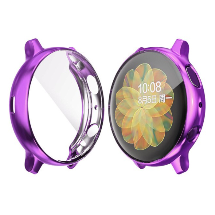 Full Cover for Samsung Galaxy Watch Active 2 (44mm) - Case and Screen Protector - TPU Hard Case Purple