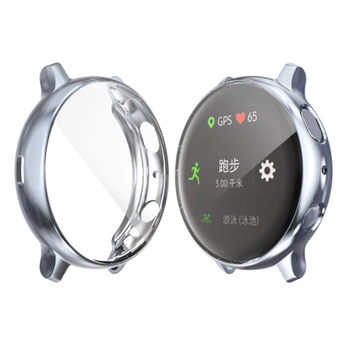 Full Cover for Samsung Galaxy Watch Active (39.5mm) - Case and Screen Protector - TPU Hard Case Grey