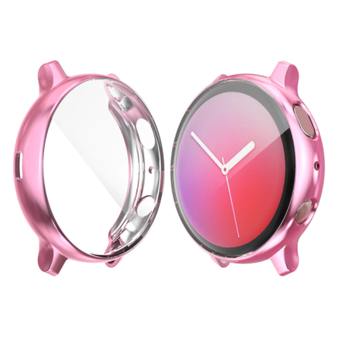 Full Cover for Samsung Galaxy Watch Active 2 (44mm) - Case and Screen Protector - TPU Hard Case Pink