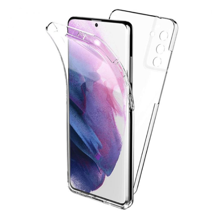 Samsung Galaxy S21 Full Body 360° Hoesje - Volledige Bescherming Transparant TPU Silicone Case + PET Screenprotector