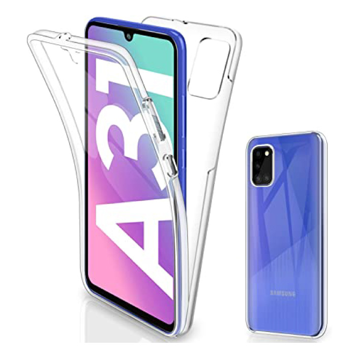 Samsung Galaxy A31 Full Body 360° Hoesje - Volledige Bescherming Transparant TPU Silicone Case + PET Screenprotector