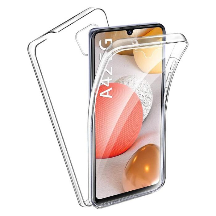 Samsung Galaxy A42 Full Body 360° Hoesje - Volledige Bescherming Transparant TPU Silicone Case + PET Screenprotector
