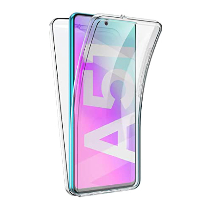 Samsung Galaxy A51 Full Body 360° Hoesje - Volledige Bescherming Transparant TPU Silicone Case + PET Screenprotector
