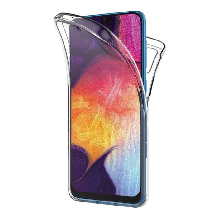 Samsung Galaxy A50 Full Body 360° Hoesje - Volledige Bescherming Transparant TPU Silicone Case + PET Screenprotector