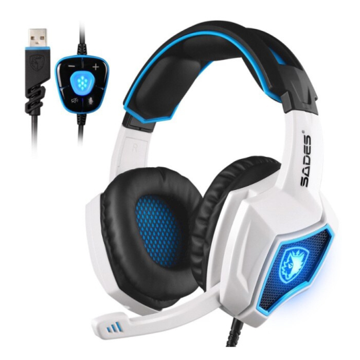 Spirit Wolf Gaming Headset 7.1 Surround Sound - Noise Canceling Headphones with Microphone White