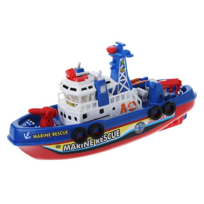 Bateau de pompier de sauvetage marin avec moteur, grue et pompe à eau - Bateau de bateau jouet pour enfants